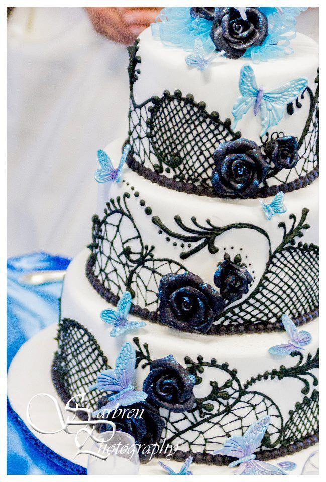 White with black lace piping and butterflies- Wedding Cake