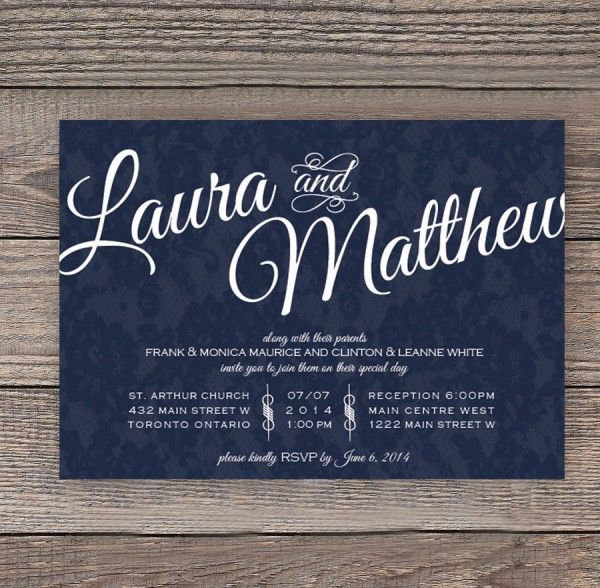 Navy Invitation  This invite is the perfect mix of simple and sass. Your names are featured in a beautiful cursive font and your wedding information cleanly organized beneath. The colours can be adjusted to better suite your theme if required. 5″ x 7″. Available at www.tristalee.com