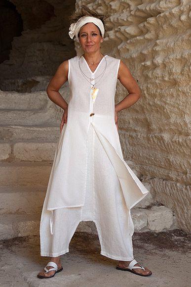 conjunto blanco de verano: algodón túnica y velo de lino sarouel