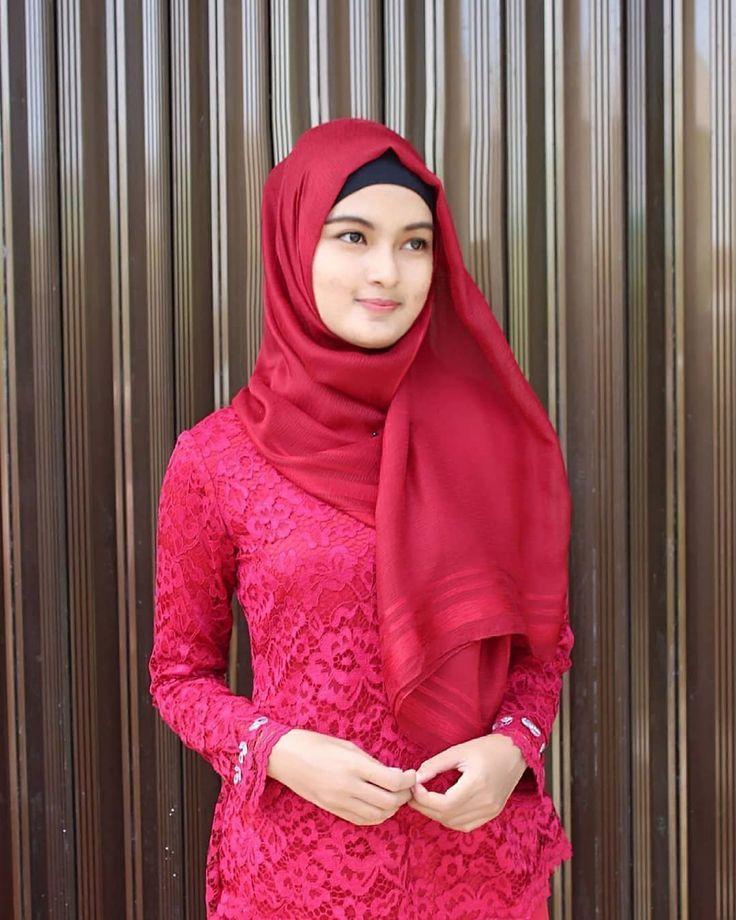 foto cantik manis wanita jilbab merah | Hijab fashion ...