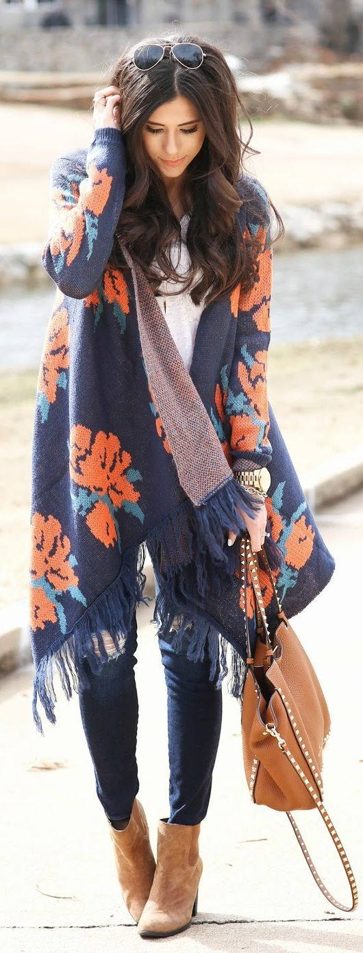 Floral Fringe Cardigan...and for the latest in trending accessories, visit Designs By Maral, on etsy ...http://etsy.com/shop/designsbymaral/