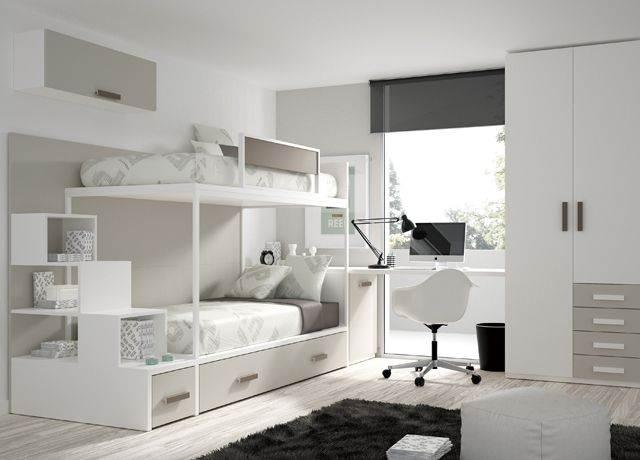 Kids Touch 62 Litera y armario Juvenil Literas y cama tren. Habitación con Litera, armario y escritorio de Muebles Ros.