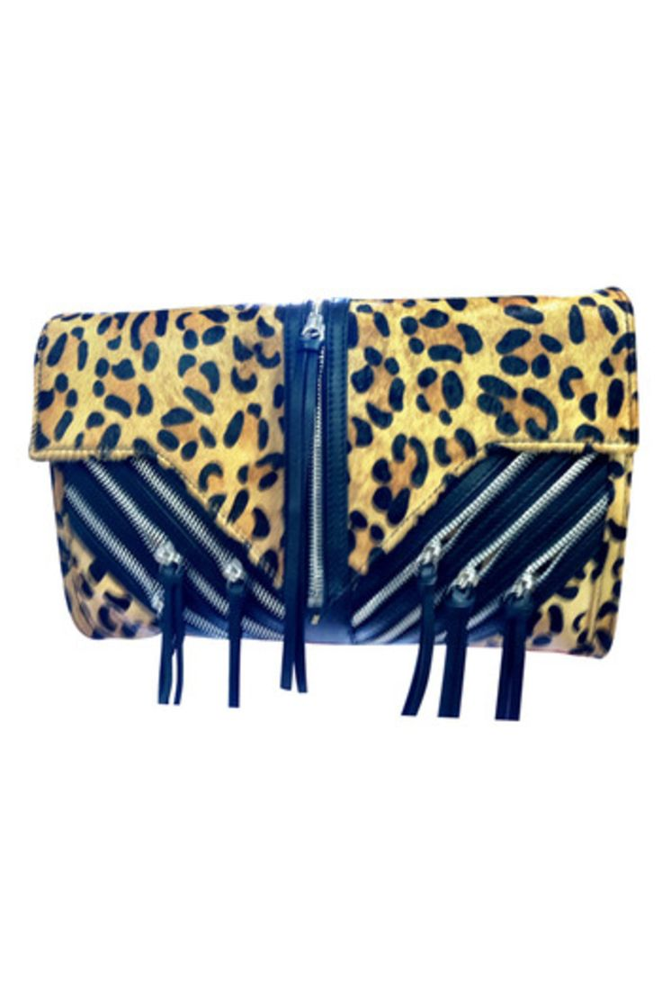 Animal Print Zipper Clutch