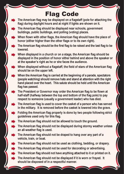 How to properly handle the flag of the United States of America