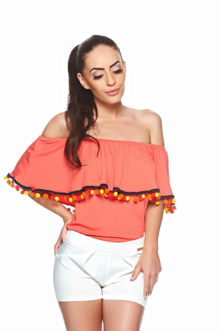 PrettyGirl Summery Coral Blouse, with ruffle details, elastic fabric, with tassels, elastic cleavage, women`s blouse