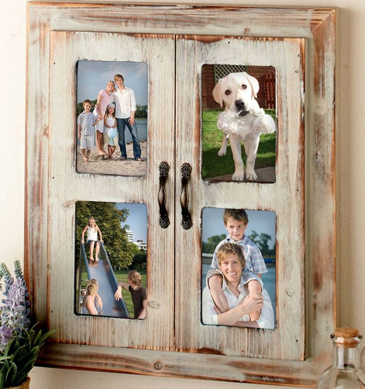 Wood Collage Photo Frame Four 4x6 Slots Primitive Rustic Distressed Brown Finish | eBay