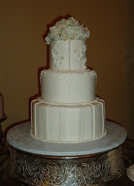 Bling Wedding Cake With Cascading Flowers
