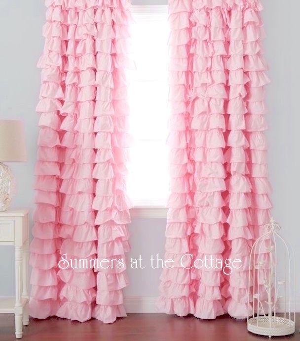 Rosa claro cortinas rizadas