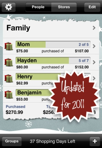 Christmas List App...its awesome....with a password, of course. HAVE TO REMEMBER THIS!!!!