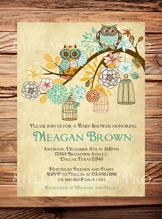 Owls Baby Shower Invitation, Baby Shower Invite, Girl, Whimsical, Pink, Teal, Green, Owls, Baby shower (Item 5204) on Etsy, $21.00