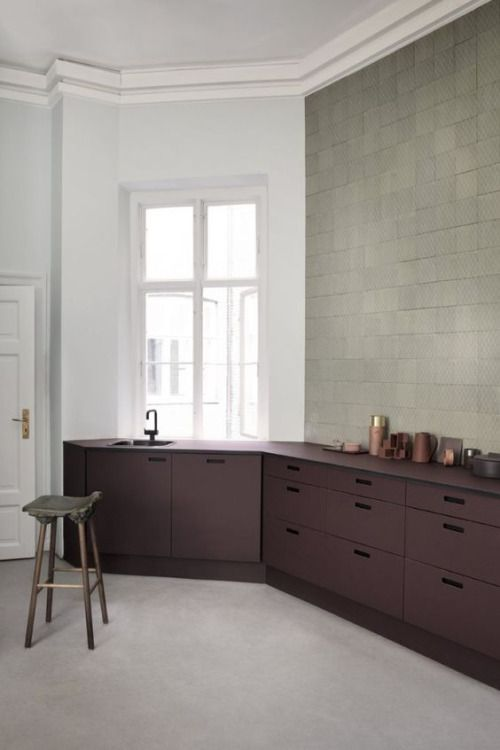 Minimalist Kitchen With Deep Burgundy Kitchen Cupboards