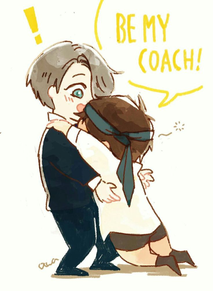 Be my coach!, text, quote, funny, Victor, Yuuri, cute, chibi, drunk, banquet, hugging, blushing; Yuri!!! on Ice
