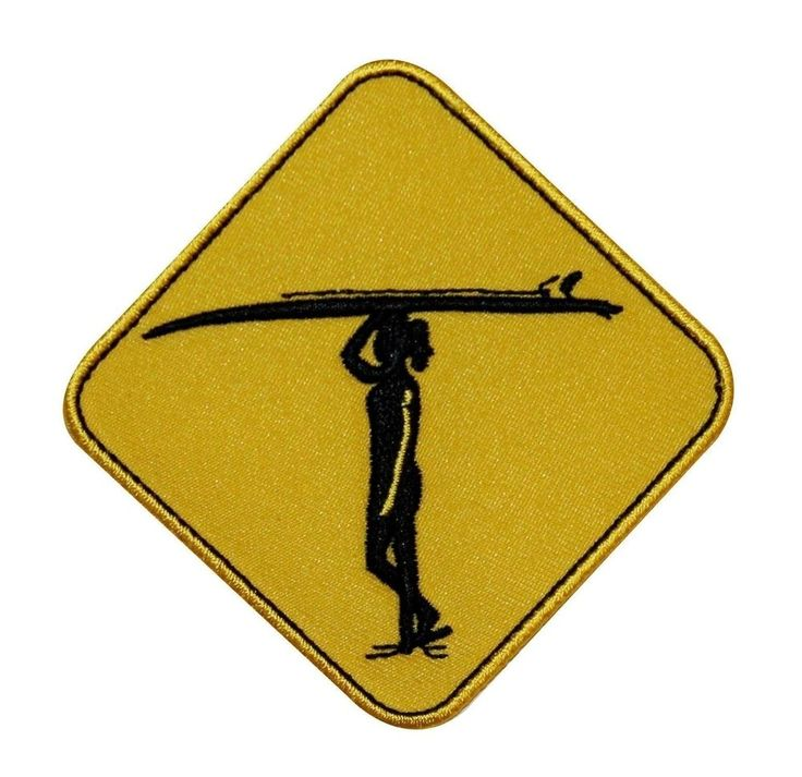 Surf Crossing Surfboard Surfing Sign Iron On Badge Applique Patch P3754 #CD