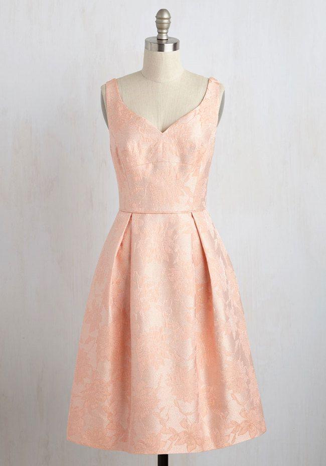 Brocade Peach Dress by ModCloth - Pastel Bridesmaids: Peach Bridesmaid Dresses - EverAfterGuide