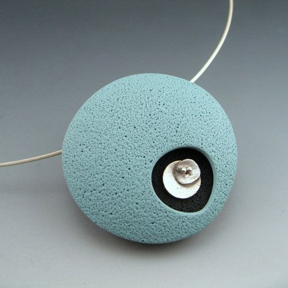 Contemporary retro mod polymer clay pendant in by StonehouseStudio, $75.00