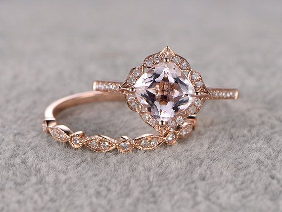 2pcs Morganite Bridal bague sertie Or Rose bague de par popRing