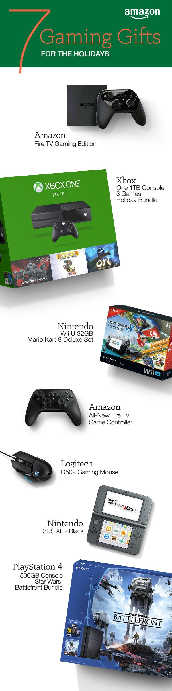 From the diehard gamer to families that play together, most wishlists have video games, consoles or accessories. We've tracked down the best deals and bundles for the Playstation 4, Xbox One, and Wii U. We didn't forget about PC and Steam gamers either. http://www.amazon.com/b/?_encoding=UTF8&node=7258702011&tag=tsa030-20&ascsubtag=ptw-PIN-1-9-1447387703313p8&ref_=ptw_PIN_1_9_1447387703313p8