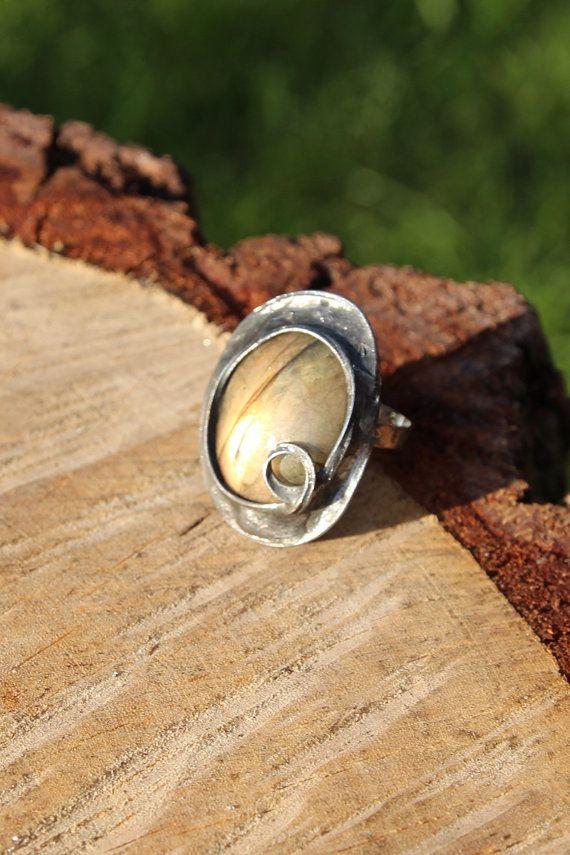 Labradorite stone ring Big large yellow orange by CreativeStudioML, $39.00