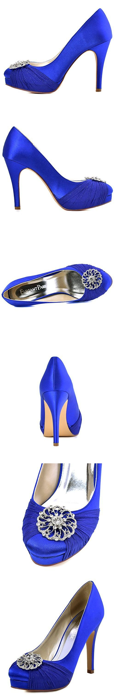 ElegantPark HC1609P Women Pumps Closed Toe Platform High Heel Buckle Chiffon Satin Evening Dress Wedding Shoes Royal Blue US 9