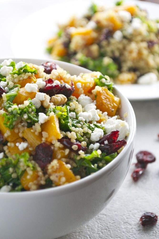 Healthy butternut squash quinoa salad with kale, cranberries, walnuts and goat cheese: six favorite foods, all in one place.