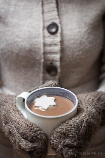 Hot chocolate with homemade marshmallow snowflakes