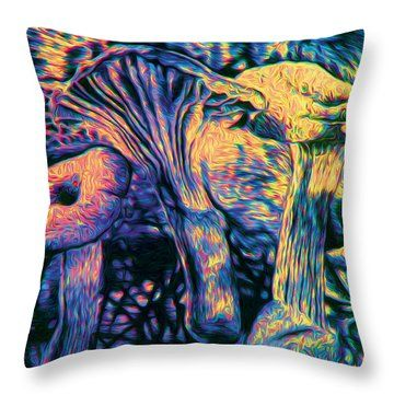 Mushroom Sunset Study By Knott Throw Pillow by Simon Knott