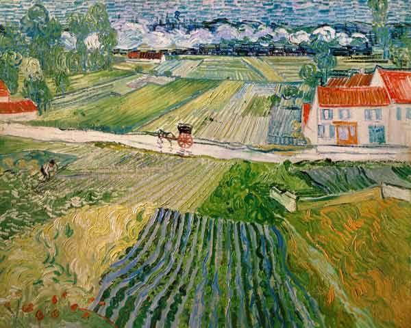 Bild:  Vincent van Gogh - Landschaft mit Pferdewagen und Zug im Hintergrund