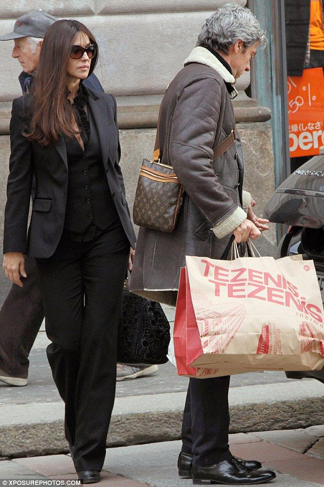 Monica Bellucci looks stylish while out shopping for bras at department store sale