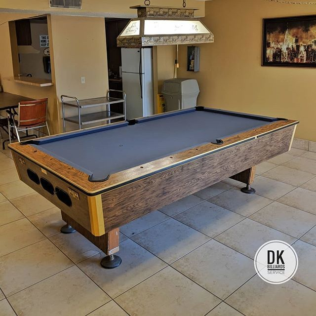 Finished Installing This 8 Foot 1 Piece Slate Pool Table In Tustin Titanium Felt Billiards Dkbilliards Playp Man Cave Home Bar - How To Move A Slate Pool Table In One Piece