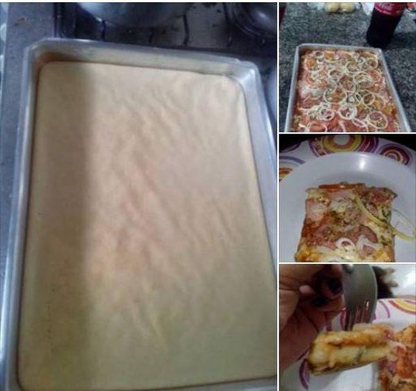 Receita de Pizza de Liquidificador Ingredientes 1 xícara(s) (chá) de leite 1 unidade(s) de ovo 1 colher(es) (chá) de sal 1 colher(es) (chá) de açúcar 1 1/2 xícara(s) (chá) de farinha de trigo 1 colher(es) (sopa) de fermento químico em pó 1 colher(es) (sopa) de margarina Modo de preparo Bata todos os ingredientes no liquidificador …