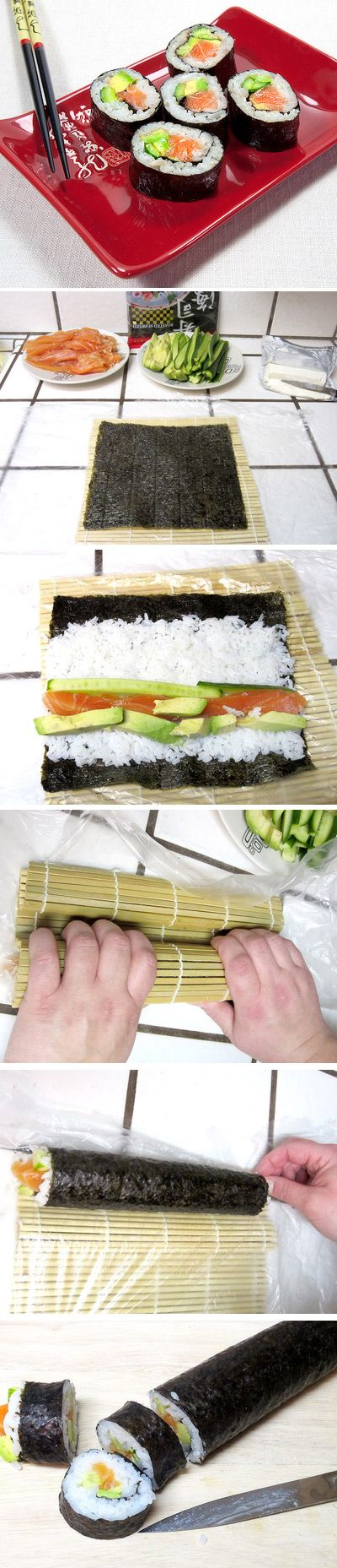 A step by step tutorial how to make sushi rolls at home. Click for recipe: I cant let myself look at this recipe until AFTER the pregnancy (I wont be able to help myself) !!