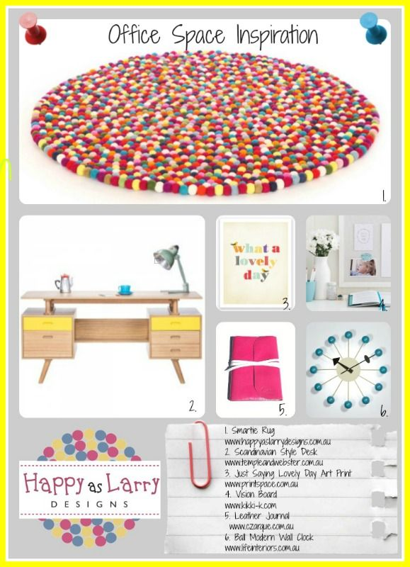 A fun place to work! Some office inspiration ideas from Happy As Larry Designs www.happyaslarrydesigns.com