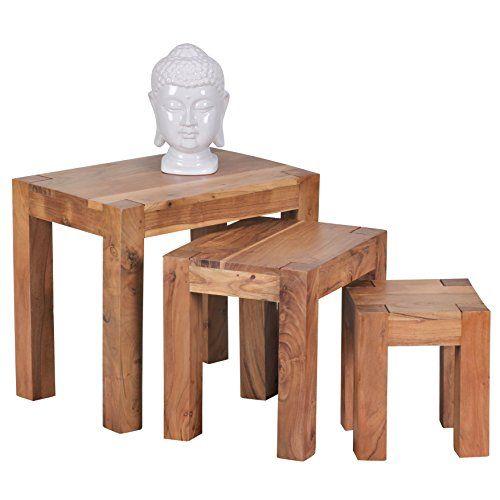 WOHNLING 3er Set Satztisch Massiv Holz Akazie Wohnzimmer Tisch Landhaus Stil Beistelltisch Dunkel