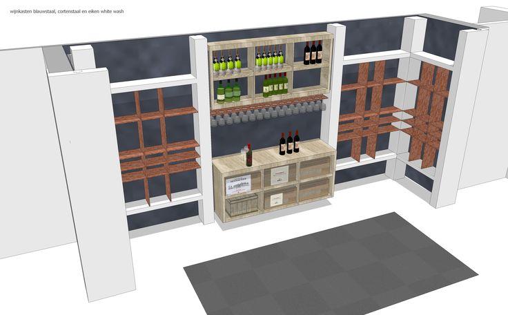 Ontwerp voor wijnkamer uitgevoerd met Cortenstaal, Blauwstaal achterwanden en eiken whitewash regaalkasten, met stuckolommen en schappen voorzien van LED-line verlichting voor strijklichteffect op Blauwstaal rugwand