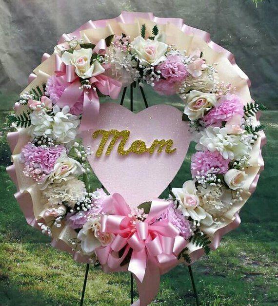 Cemetery Wreath Cemetery Flowers Pink Wreath Sympathy Wreath