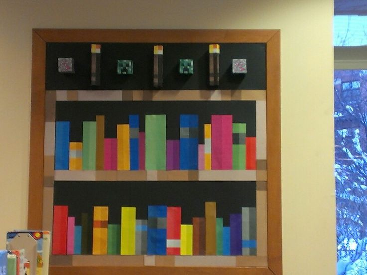 Minecraft bookshelf library bulletin board. Creeper, torches, colorful books.