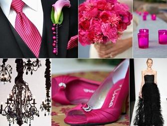 Black & Hot Pink Wedding