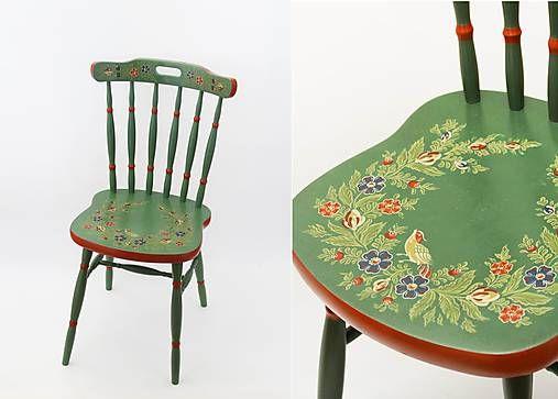 TalkFolk / Ľudová maľovaná stolička - predaná _______________________ Hand painted decorated wooden chair in Hindeloopen painting style _______________________ Decorated by Studio TalkFolk, not for sale