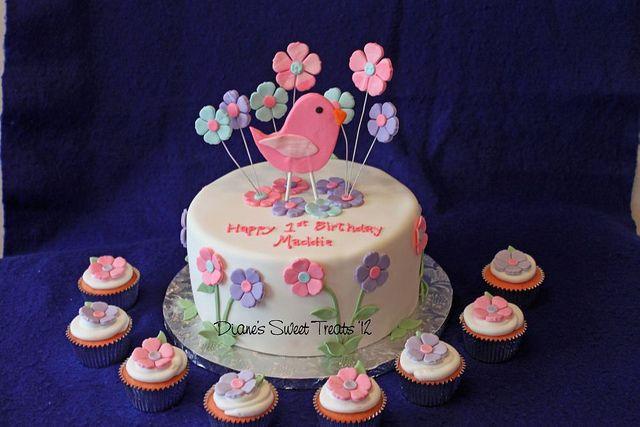 first birthday - bird and flowers by Diane's Sweet Treats - (Diane Burke), via Flickr