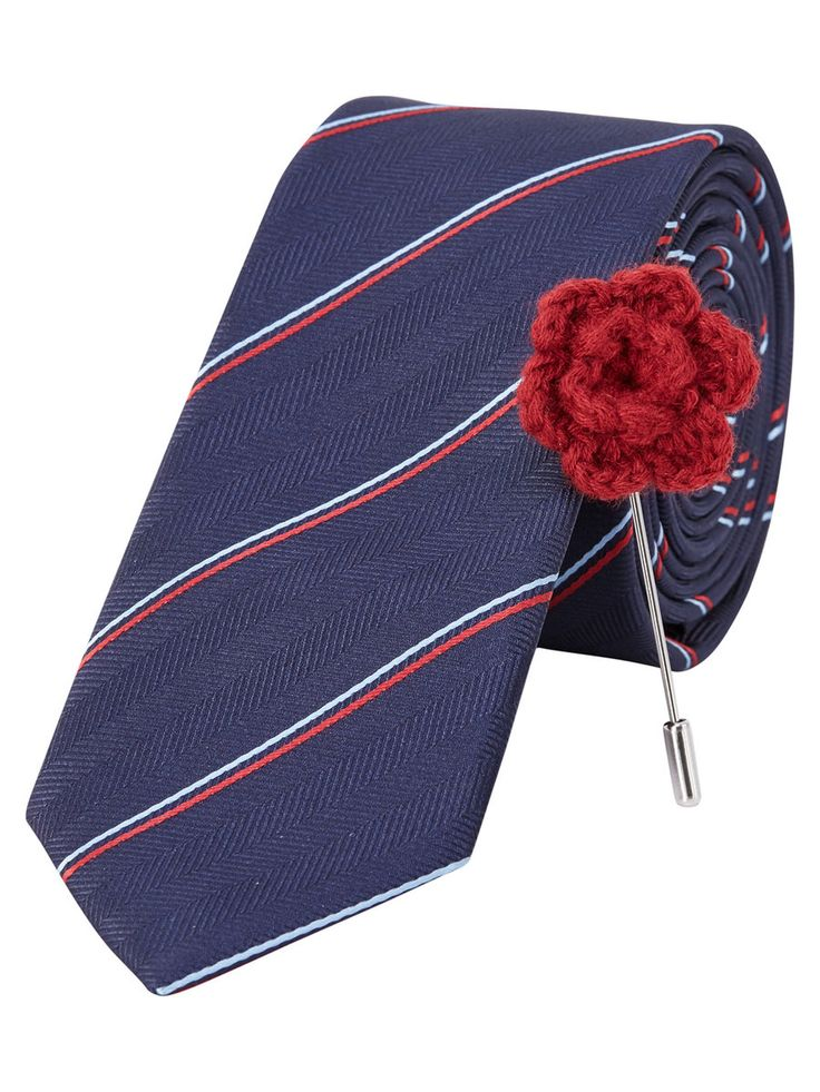 Navy striped tie with black and red details. The gift he needs but won't gift himself | JACK & JONES