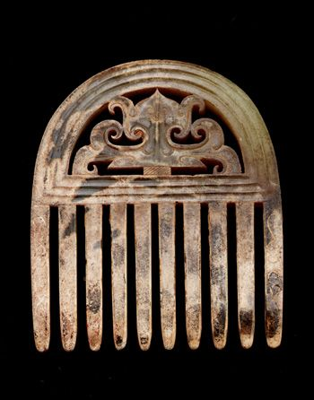 Headdress 475-221 B.C.E. Jincun  Eastern Zhou dynasty  Warring States period Jade (nephrite) H: 6.6 W: 5.6 D: 0.6 cm  China