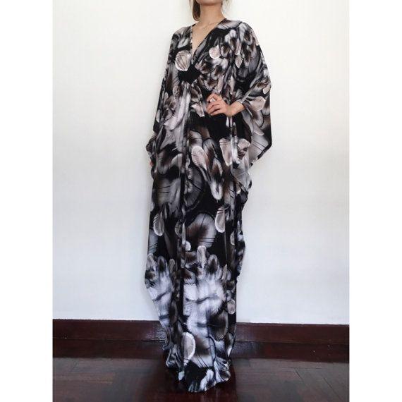 Plus Size Maxi Dress - Summer Dresses Brown Black Dress - Elegant Evening Dress - Brown Black Feathers Printed Beach Kaftan Dress