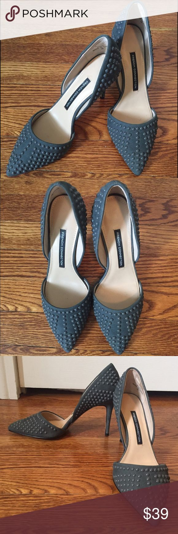 French Connection Ellis gray studded pumps Beautiful gray pumps with studs.  Can be worn with a dress or jeans.  Have only been worn 1x. French Connection Shoes Heels