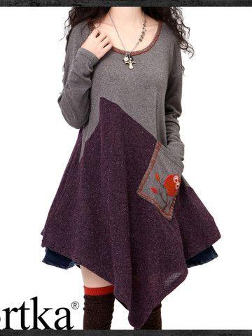 A-line dress colorblock plus size multi-sized oversized knit pocket applique winter fall wool grey purple plum fashion
