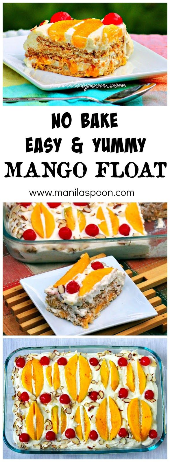 NO BAKING required for this fruity-licious chilled dessert. Juicy mangoes float on mango-flavored cream then garnished with red cherries. Super yum No Bake Mango Float!