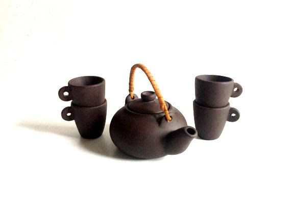 Home Decor Brown Asian mini Tea Set Ceramic Tea set  от SashaStore, $28.90