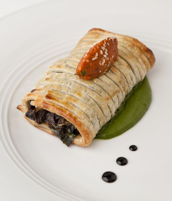 Mushrooms present a great vegetraian option, gloriously autumnal and packed with that statisfying umami punch that Thanksgiving demands. stuff your mushrooms in a pastry as in Vineet Bhatia's recipe for Lafifa Mushrooms, Braised Spinach and Roasted Tomato Chutney.