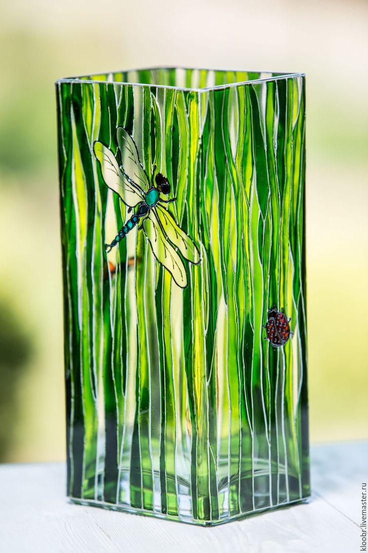 Купить Ваза для цветов Summertime - салатовый, ваза стеклянная, ваза ручной работы, Витражная роспись
