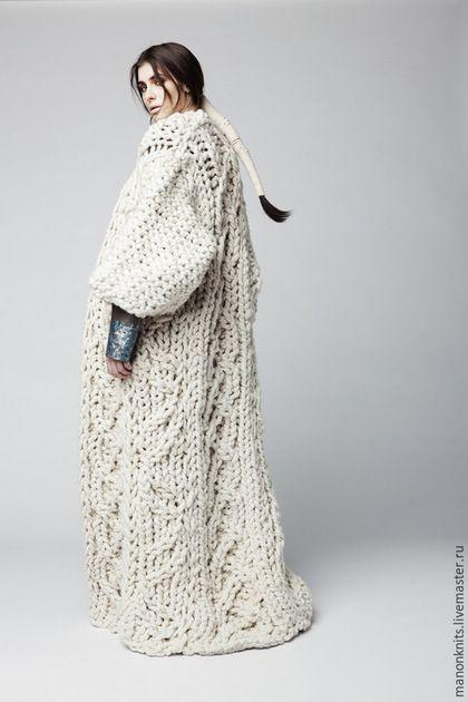 Knitted coat / Верхняя одежда ручной работы. Ярмарка Мастеров - ручная работа. Купить Пальто жакет кардиган из толстой пряжи. Handmade. Разноцветный