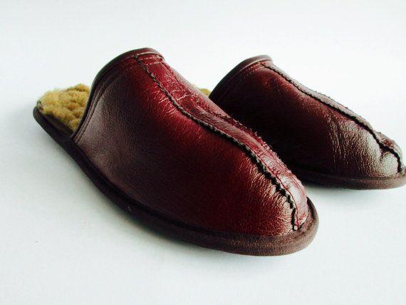 Men slippers lamb leather slippers handmade by ShtereviHandmade